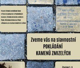 Studentský projekt Kameny zmizelých vrcholí. Kameny připomínající oběti holokaustu budou slavnostně položeny ve Smetanově, Jungmannově a Prokopově ulici.